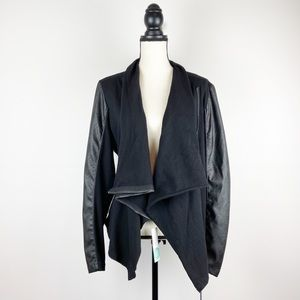 NWT Blank NYC Faux Leather and Knit Drape Jacket